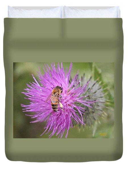 Bee On Purple Thistle Duvet Cover