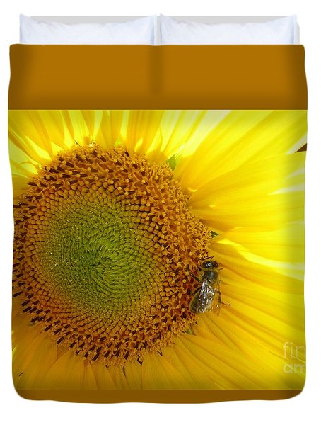 Duvet Cover featuring the photograph Bee On Sunflower by Jean Bernard Roussilhe