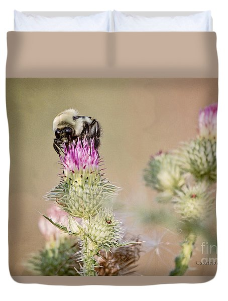 Duvet Cover featuring the photograph Bee On Thistle Weed by Laurinda Bowling