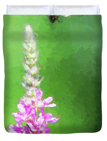 Bee Over Flowers Duvet Cover