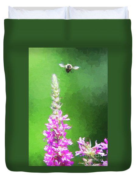 Bee Over Flowers Duvet Cover