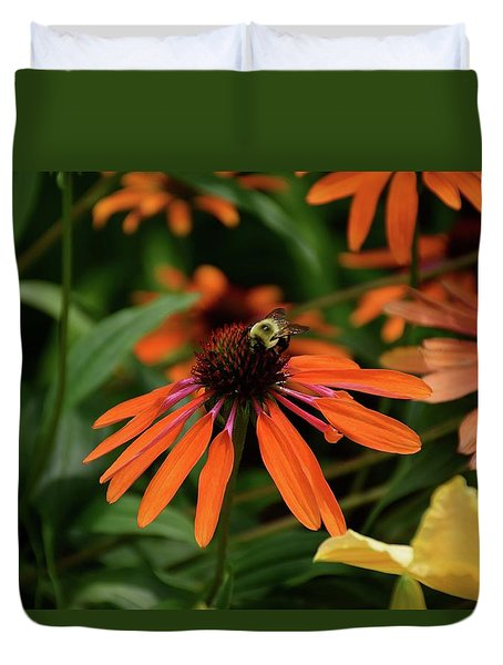 Bee Pollinating On A Cone Flower Duvet Cover