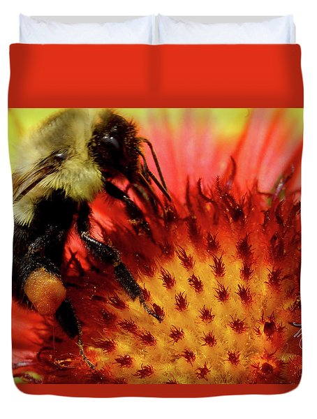 Duvet Cover featuring the photograph Bee Red Flower by Meta Gatschenberger