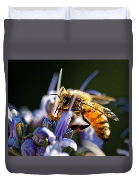 Bee Visits Rosemary  Duvet Cover