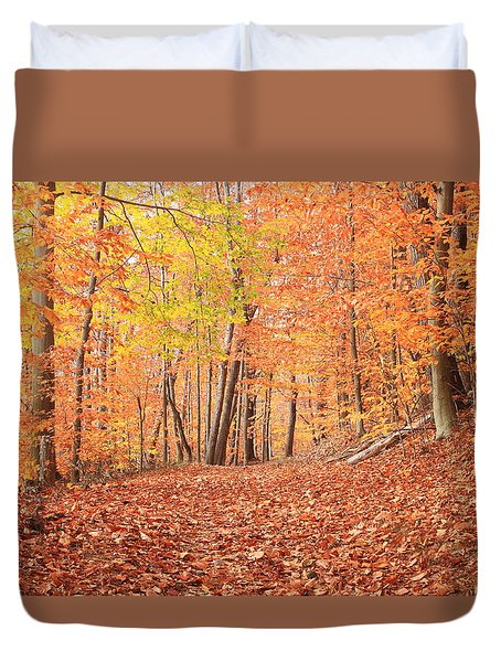 Beech Forest Trail In Late Autumn Duvet Cover