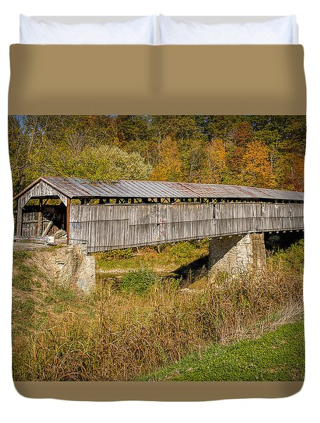 Beech Fork Or Mooresville Covered Bridge Duvet Cover