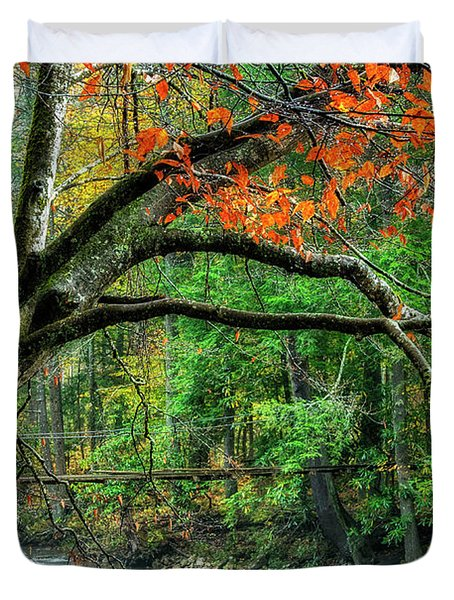 Beech Tree And Swinging Bridge Duvet Cover