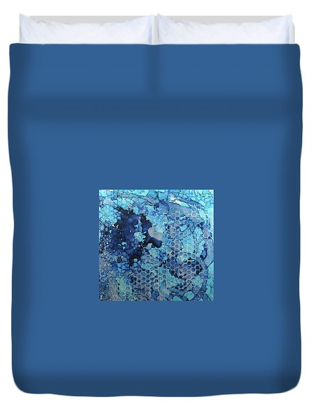 Duvet Cover featuring the painting Beekeeper Blues Ink #13 by Sarajane Helm