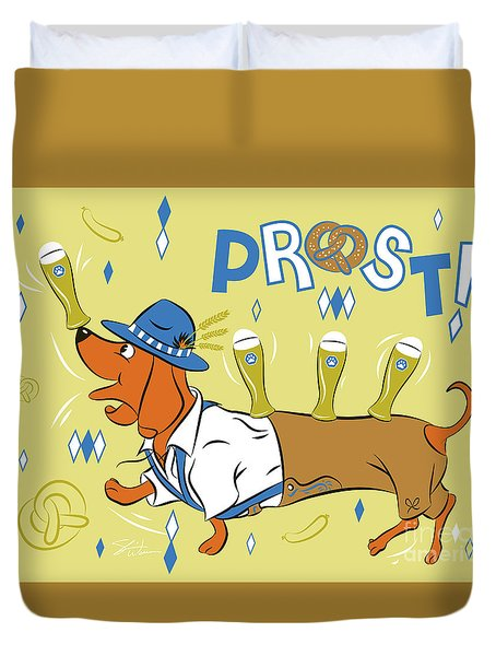 Beer Dachshund Dog Duvet Cover