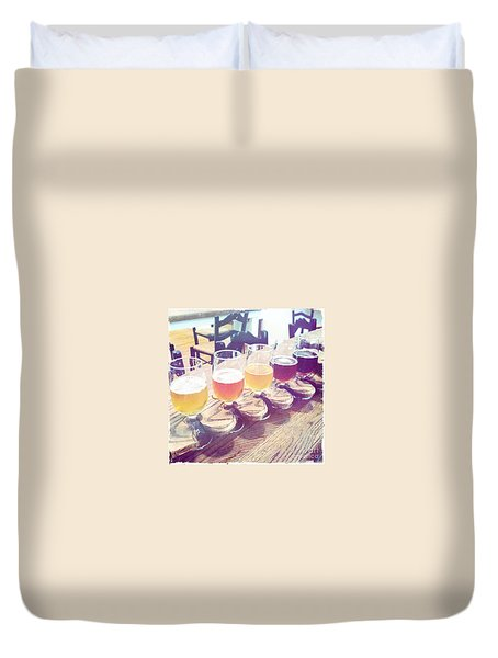 Duvet Cover featuring the photograph Beer Flight by Nina Prommer