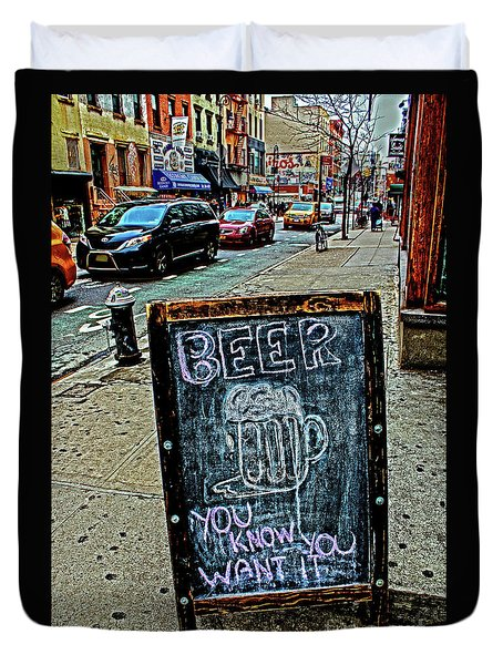 Duvet Cover featuring the photograph Beer Sign by Sandy Moulder