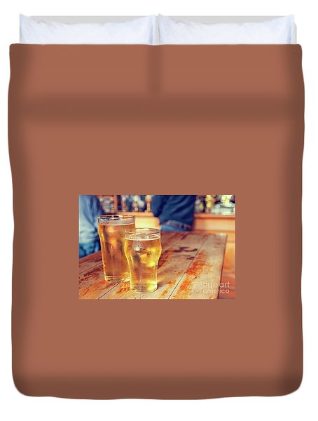 Duvet Cover featuring the photograph Beers In A Pub by Patricia Hofmeester