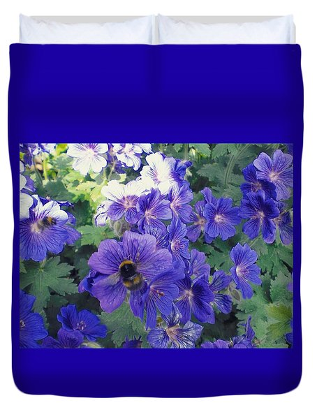 Bees And Flowers Duvet Cover