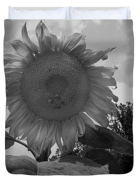 Duvet Cover featuring the digital art Bees On A Sunflower by Chris Flees