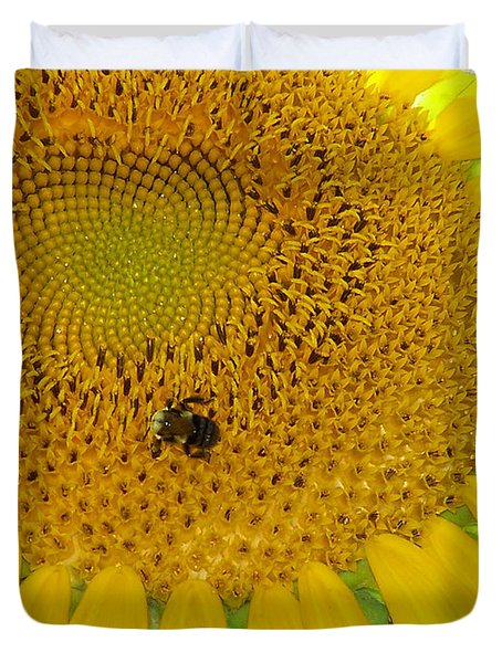Duvet Cover featuring the photograph Bees Share A Sunflower by Sandi OReilly