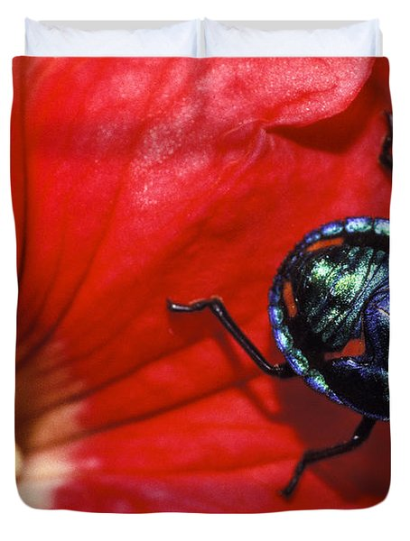 Beetle On A Hibiscus Flower. Duvet Cover