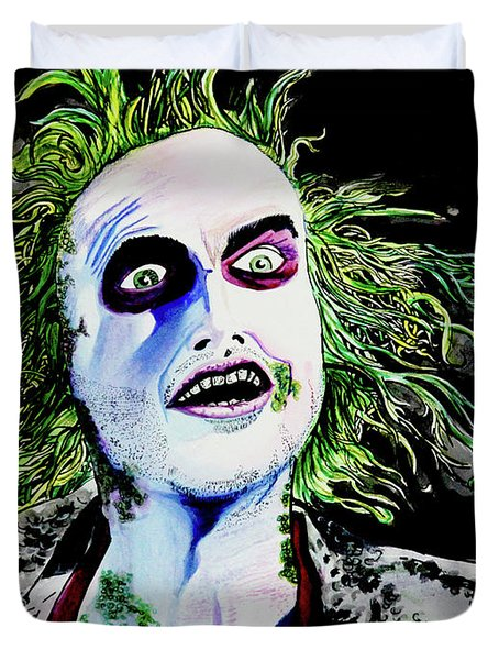 Duvet Cover featuring the painting Beetlejuice by eVol i