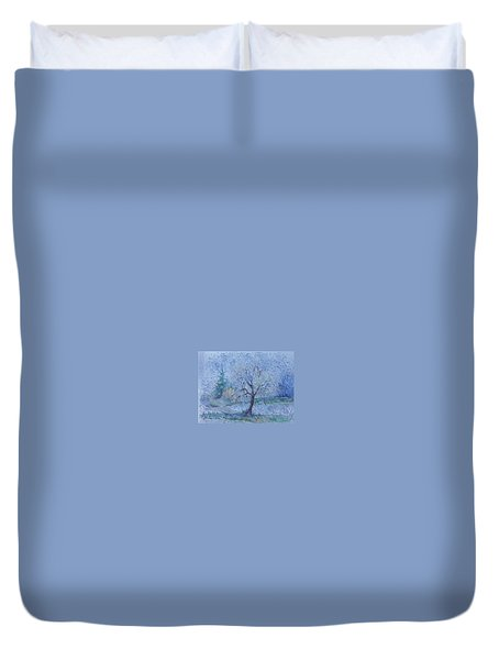 Duvet Cover featuring the painting Begining Of Another Winter by Anna  Duyunova