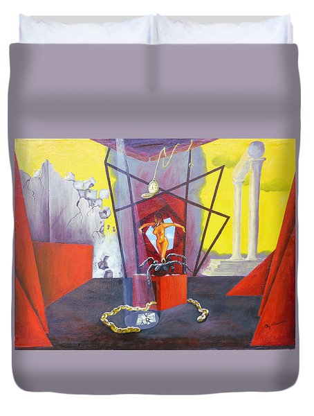 Duvet Cover featuring the painting Beginning To End by Elly Potamianos