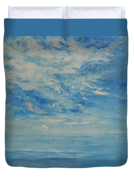 Duvet Cover featuring the painting Behind All Clouds by Jane See
