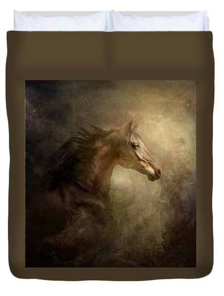 Duvet Cover featuring the photograph Behind Broken Mirror by Dorota Kudyba