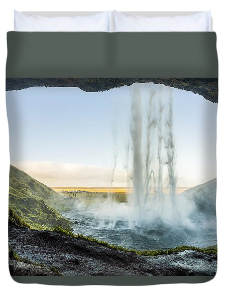 Duvet Cover featuring the photograph Behind Seljalandsfoss by James Billings