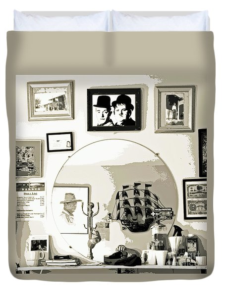 Duvet Cover featuring the photograph Behind The Barber Chair by Joe Jake Pratt