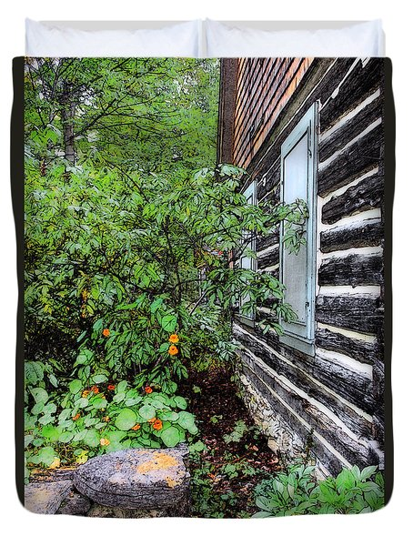 Behind The Dorm At The Clearing Duvet Cover by David Blank