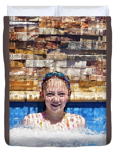 Duvet Cover featuring the photograph Behind The Falls by Linda Lees