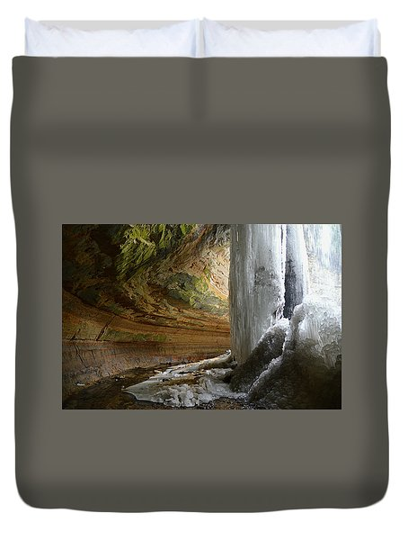 Behind The Ice Falls Duvet Cover