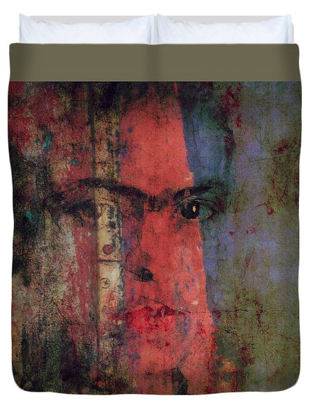 Duvet Cover featuring the painting Behind The Painted Smile by Paul Lovering