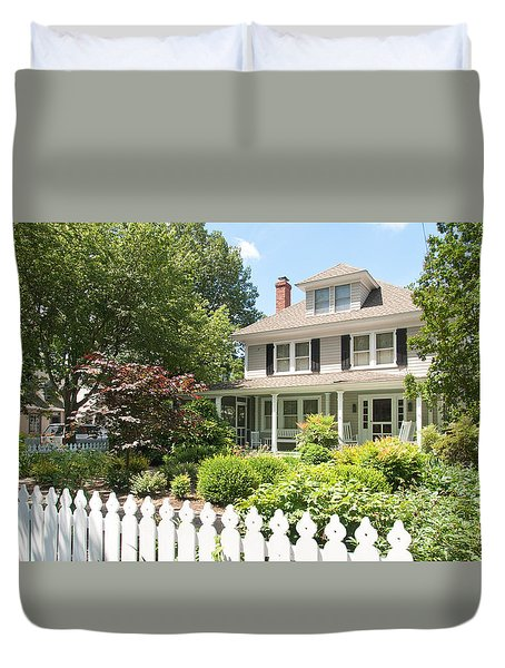Duvet Cover featuring the photograph Behind The Picket Fence by Charles Kraus