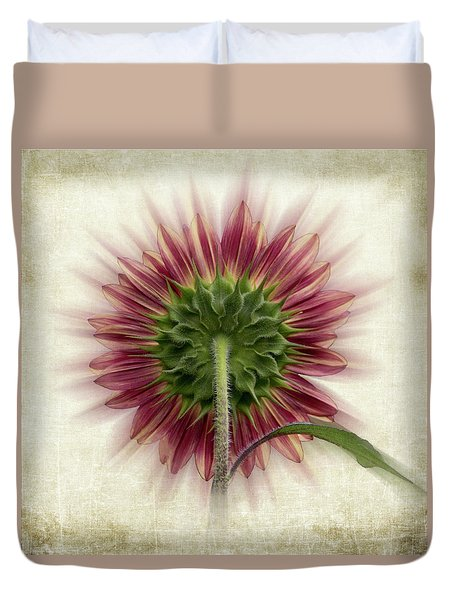 Duvet Cover featuring the photograph Behind The Sunflower by Patti Deters