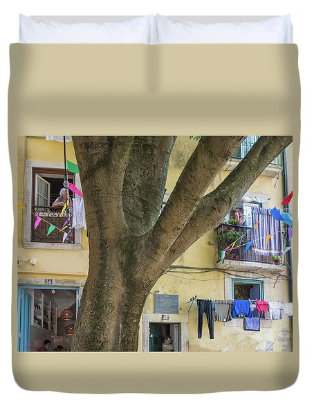 Duvet Cover featuring the photograph Behind The Tree by Patricia Schaefer