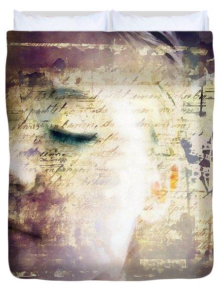 Duvet Cover featuring the digital art Behind The Words by Gun Legler