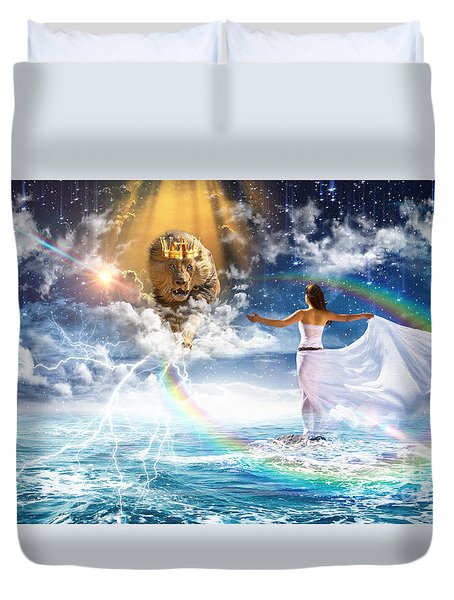 Duvet Cover featuring the digital art Behold, He Is Coming  by Dolores Develde
