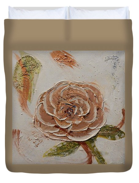 Beige Rose Duvet Cover