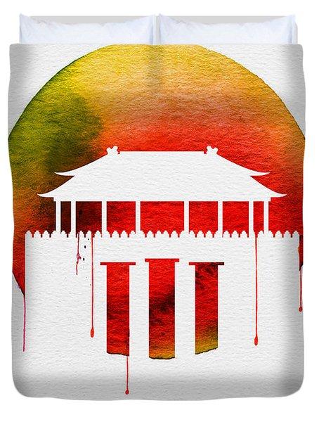 Beijing Landmark Red Duvet Cover