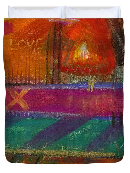 Duvet Cover featuring the painting Being In Love by Angela L Walker