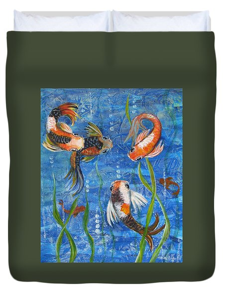 Duvet Cover featuring the painting Being Koi by Martha Ayotte
