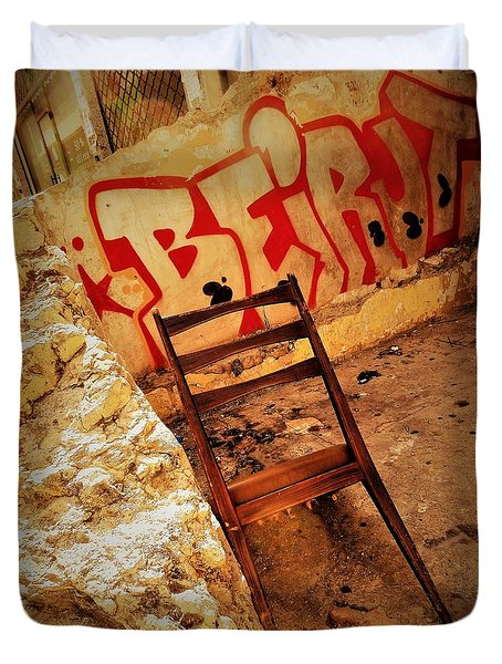 Beirut Graffiti With A Lonely Chair  Duvet Cover