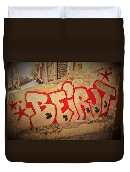 Beirut On A Graffiti Wall Duvet Cover
