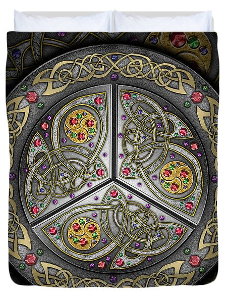 Duvet Cover featuring the mixed media Bejeweled Celtic Shield by Kristen Fox