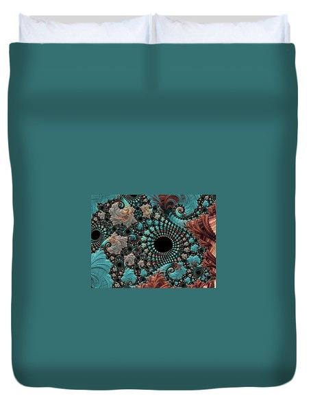 Duvet Cover featuring the digital art Bejeweled Fractal by Bonnie Bruno