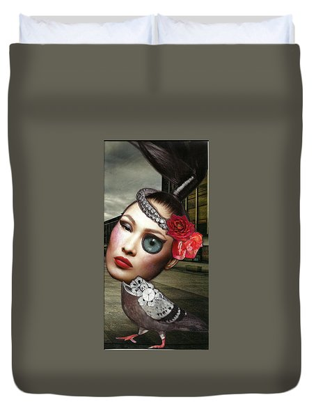Mixed Media Collage Bejeweled Pigeon Lady Duvet Cover