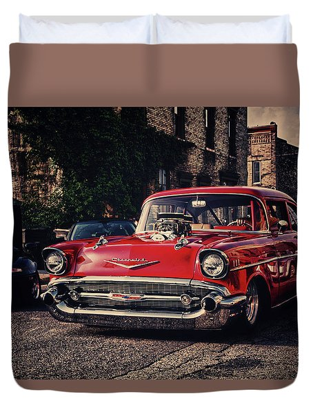 Duvet Cover featuring the photograph Bel Air Hotrod by Joel Witmeyer