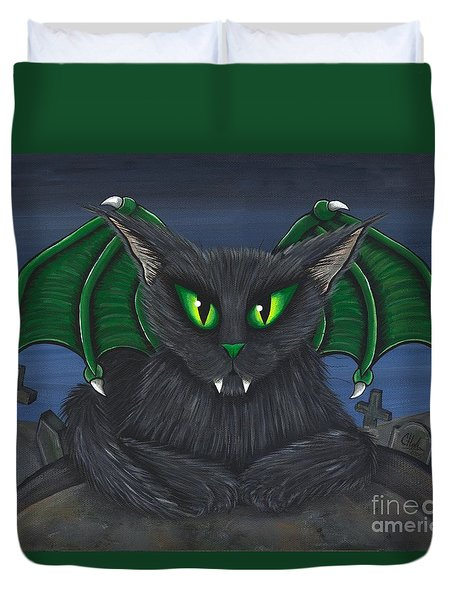 Duvet Cover featuring the painting Bela Vampire Cat by Carrie Hawks