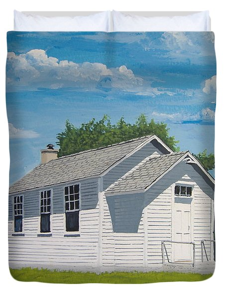 Duvet Cover featuring the painting Belding School by Norm Starks