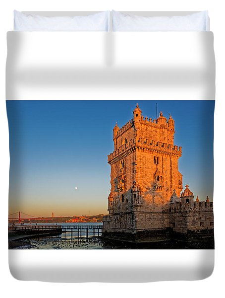 Belem Tower And The Moon Duvet Cover