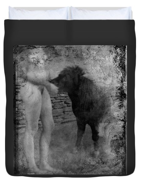 Duvet Cover featuring the photograph Belfast Nude With Mininature  by Jennifer Wright